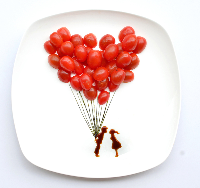 Hong Yi alias Red All you need is love with cherry tomatoes, nori and soy sauce