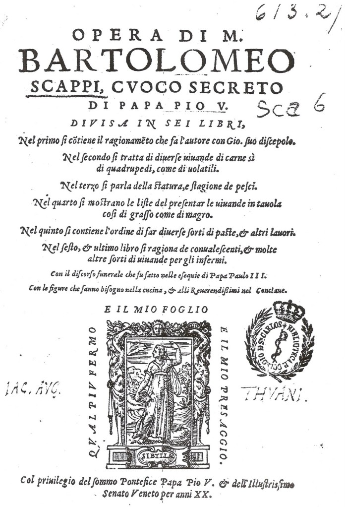 Opera di Bartolomeo Scappi cuoco segreto di Papa Pio V